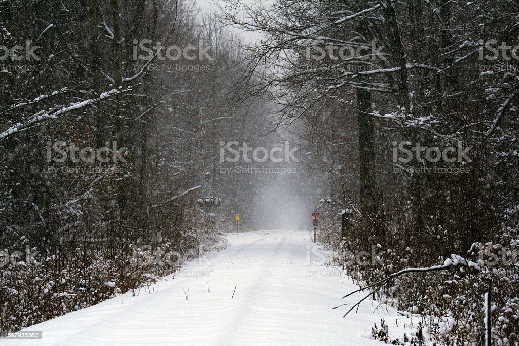 Winter Blizzard Snow Buried Rural NY State Abandoned Railway Tracks stock photo