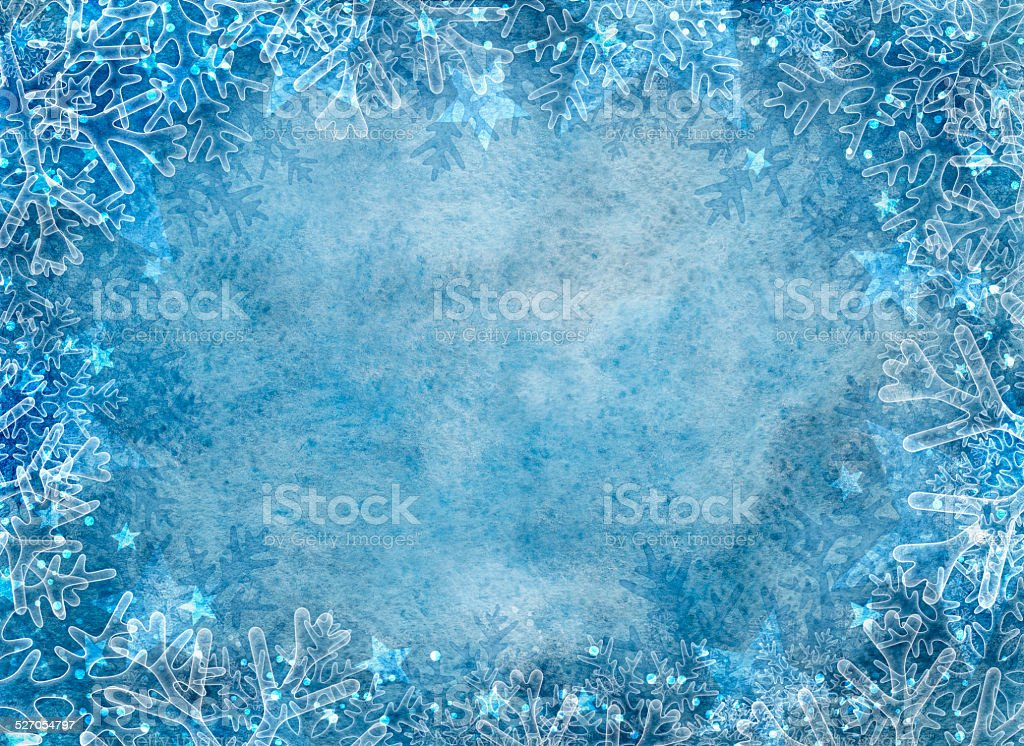 Winter blue background with snowflakes vector art illustration
