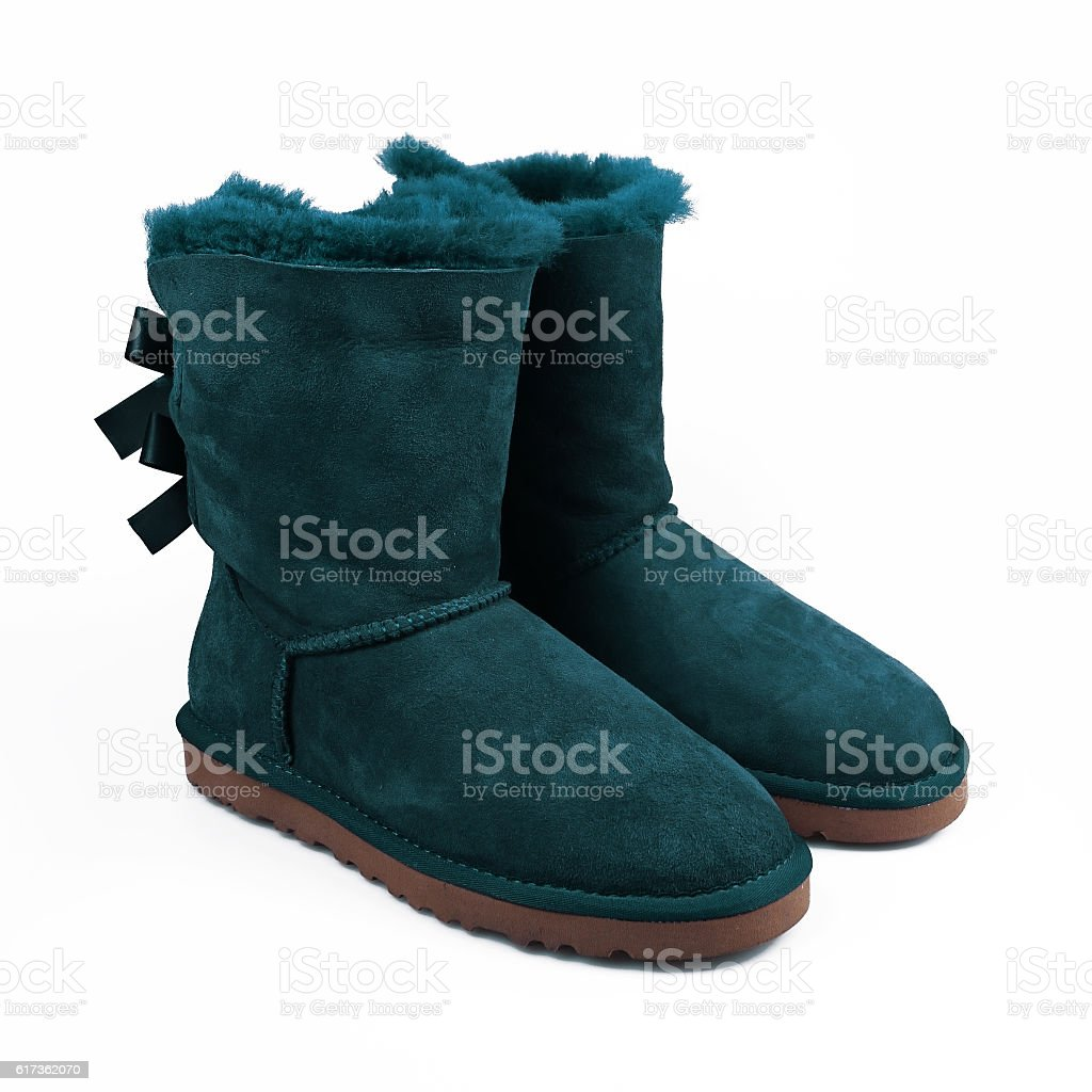 winter blue shoes stock photo