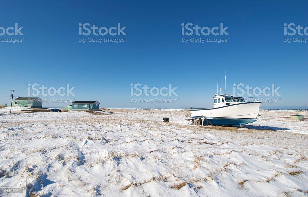 Winter Boat on Snow stock photo