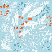 Winter botanical pattern in retro colors