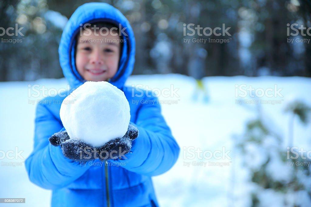 Winter boy fun stock photo