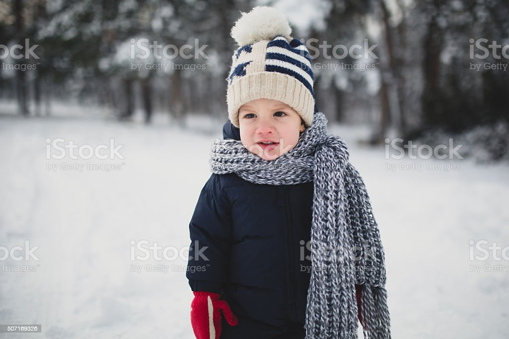 Winter boy stock photo