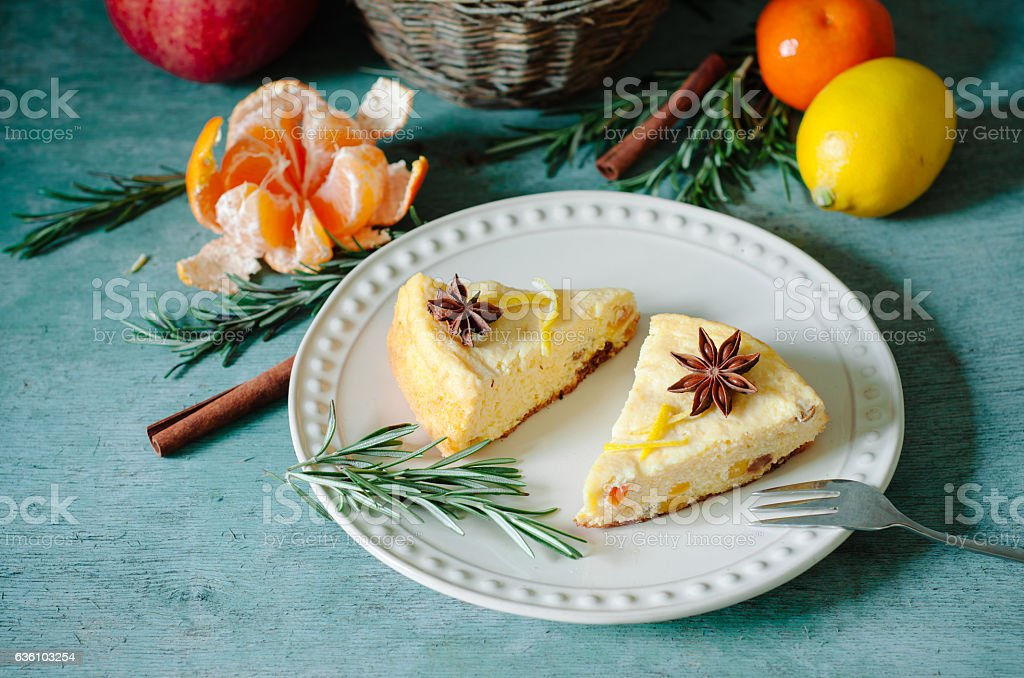 Winter breakfast on a wooden table cottage cheese casserole stock photo