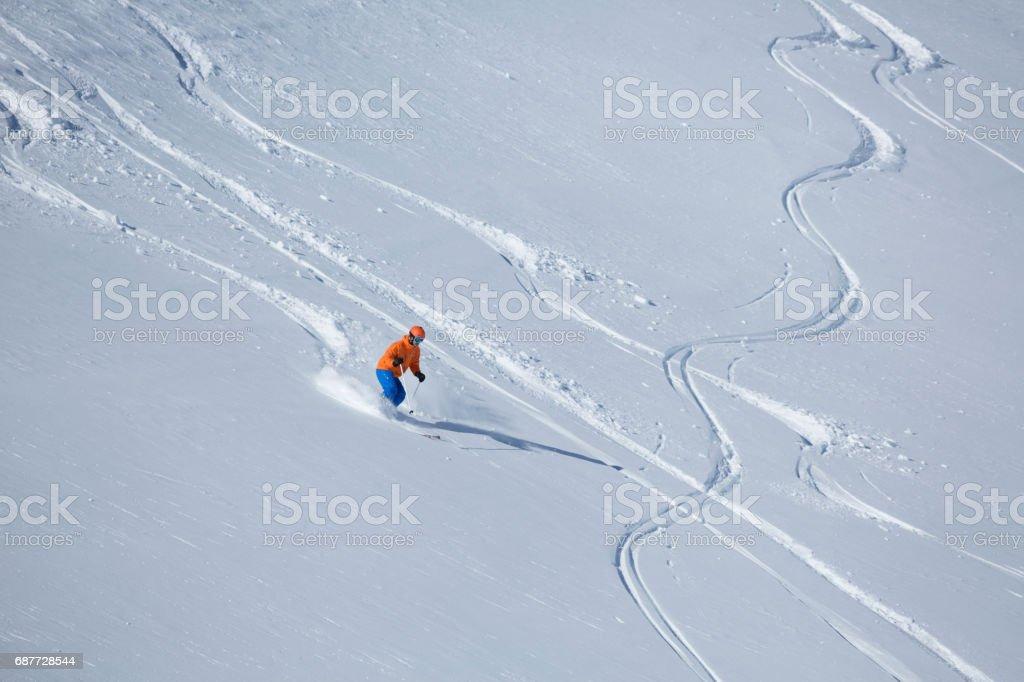single skier in powder snow, Obertauern, Salzburg, Austria