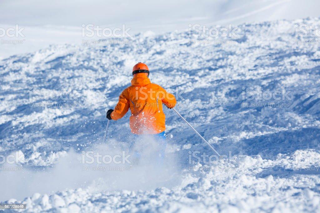 back view skier skiing in unprepared terrain, Obertauern, Salzburg,...