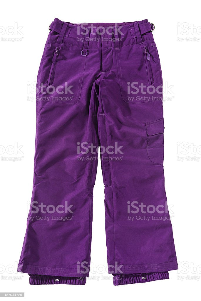 Winter breathable female purple ski trousers isolated on white background stock photo