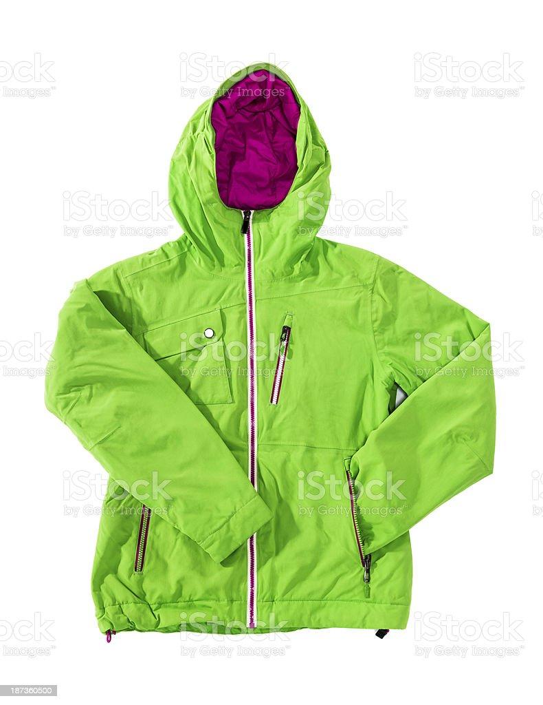 Winter breathable green ski jacket isolated on white royalty-free stock photo