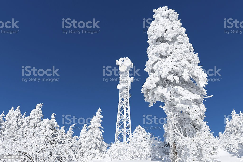 Winter , broadcasting tower stock photo