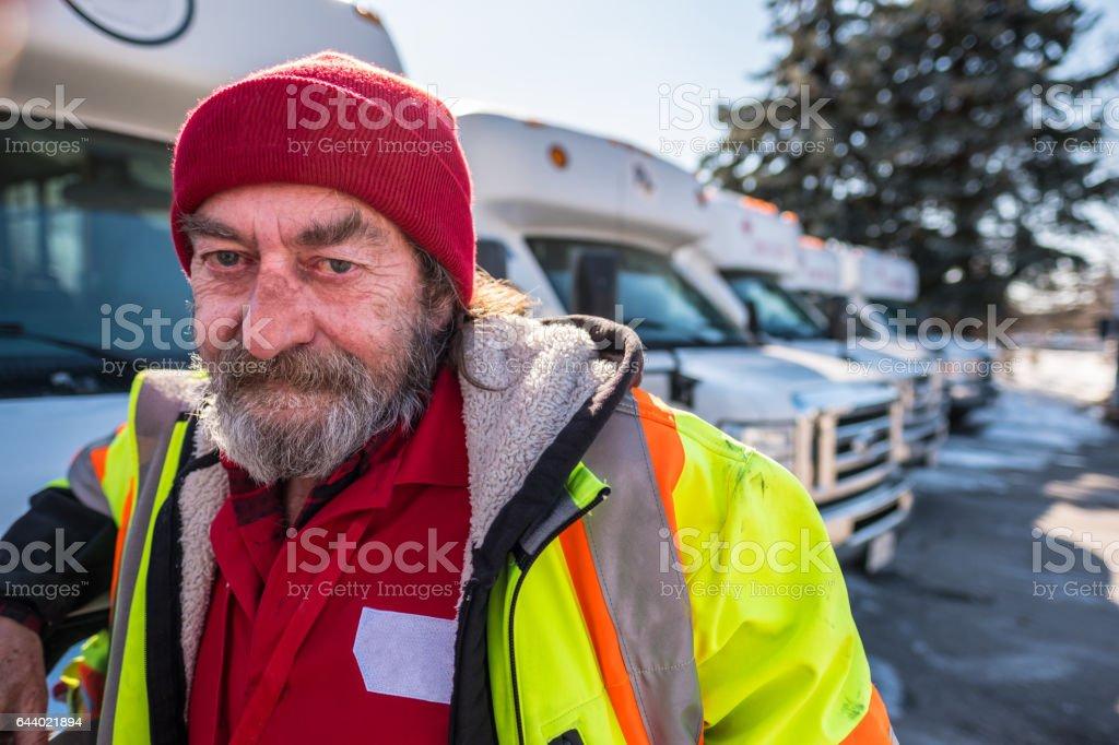 Winter Bus driver stock photo