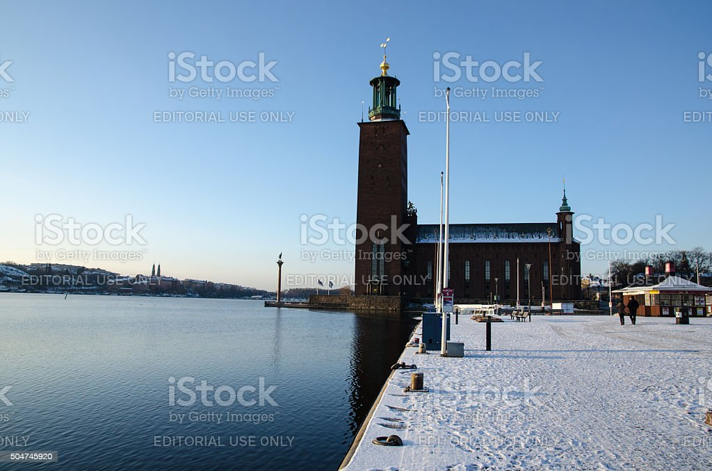 Winter by the City Hall in Stockholm stock photo