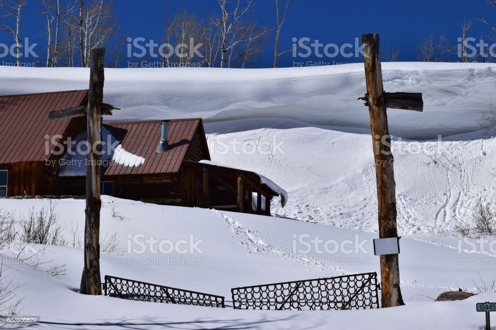 Winter Cabin stock photo