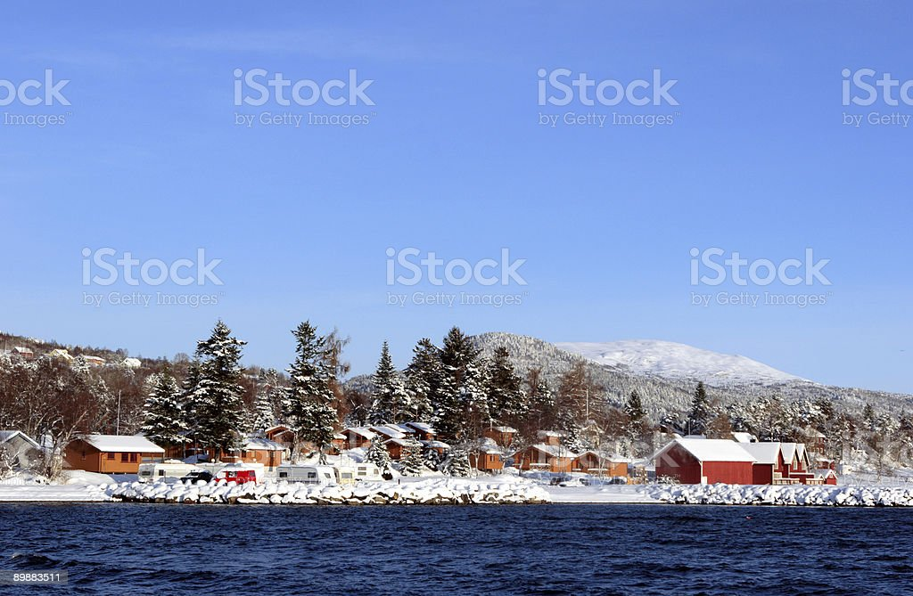 Winter Cabins stock photo