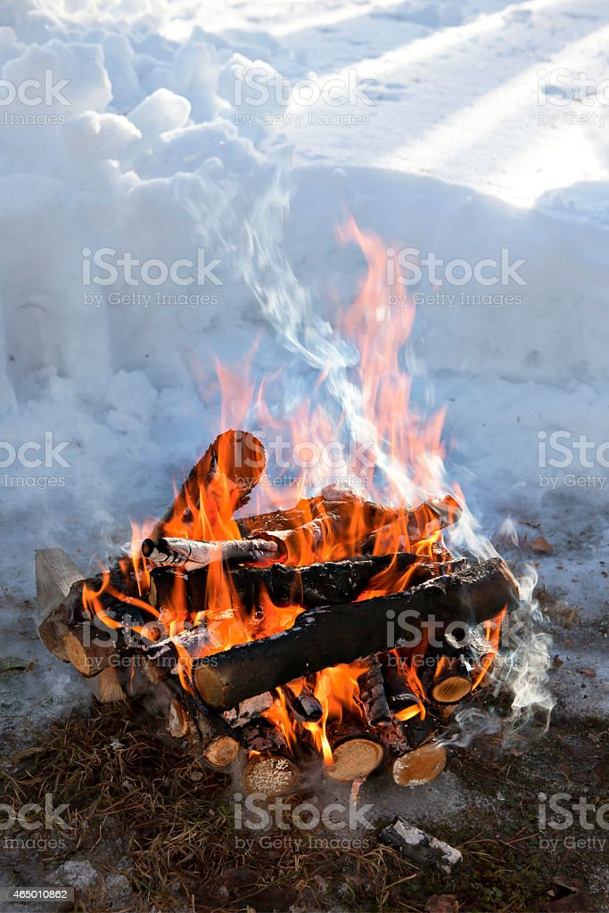 winter camp fire stock photo