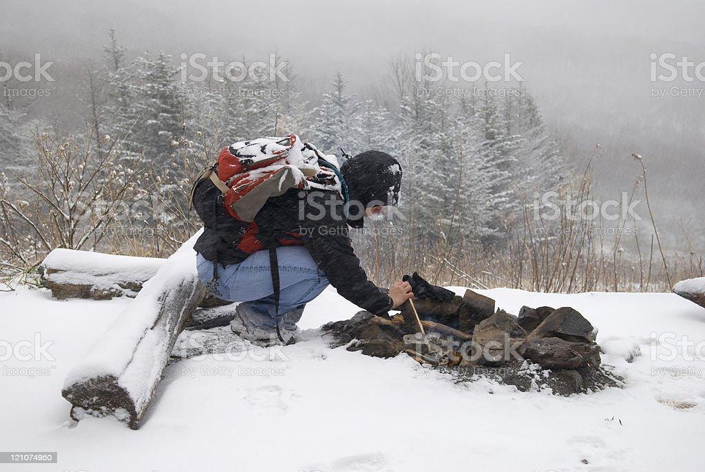 Winter Campfire royalty-free stock photo