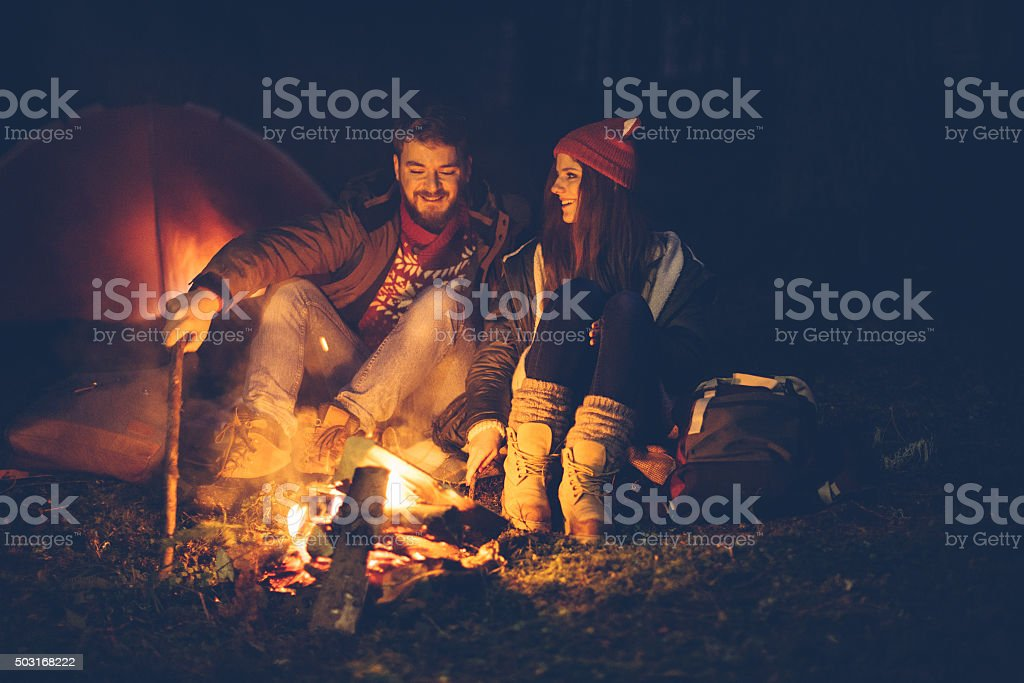 Winter camping on mountain stock photo