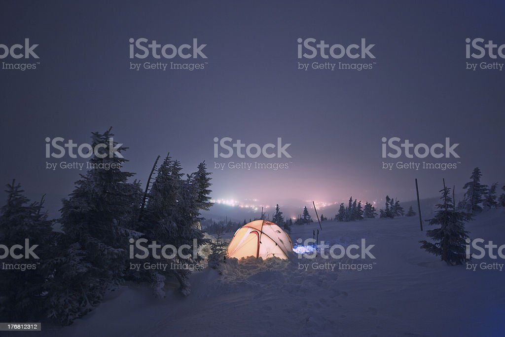 Winter camping royalty-free stock photo