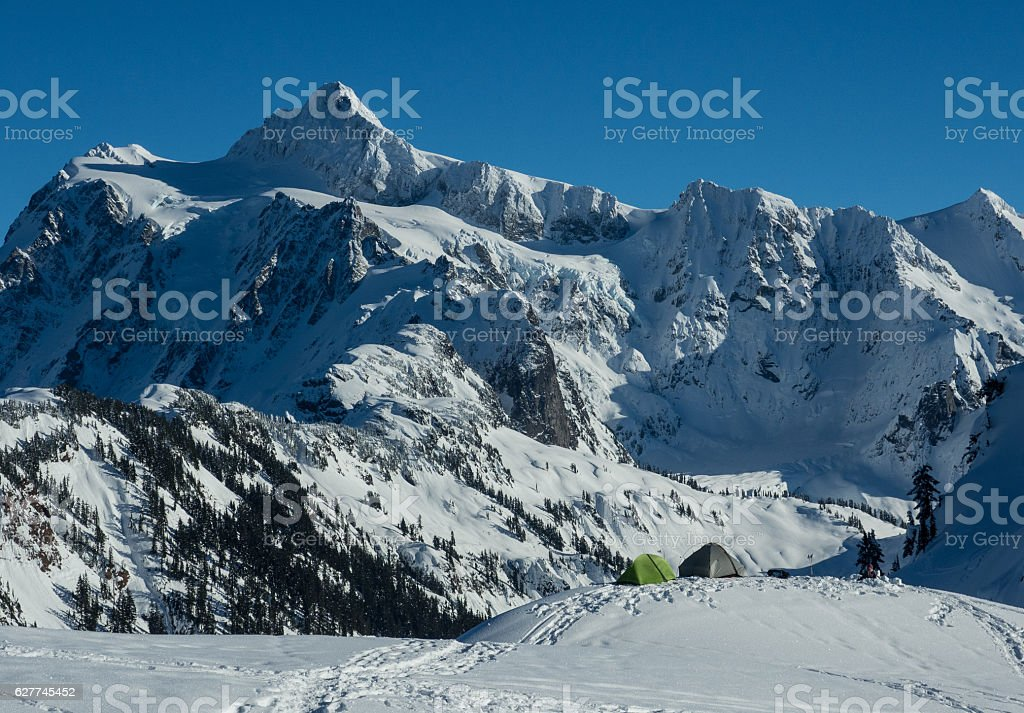 Winter camping stock photo