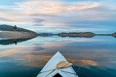 winter canoe paddling in Colorado