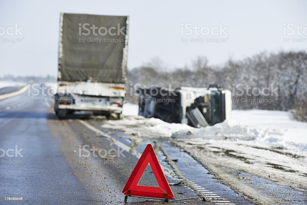 winter car crash stock photo