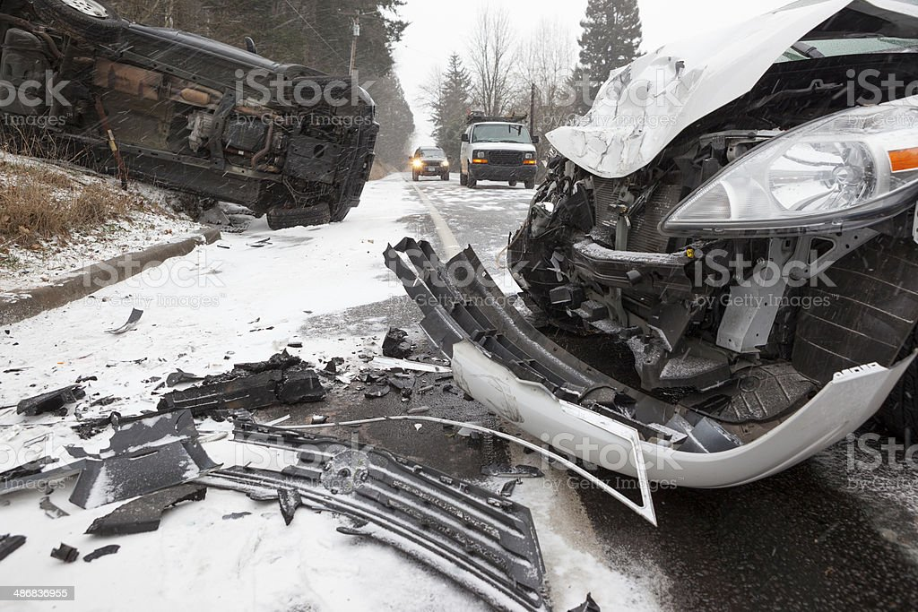 Winter Car Crash royalty-free stock photo