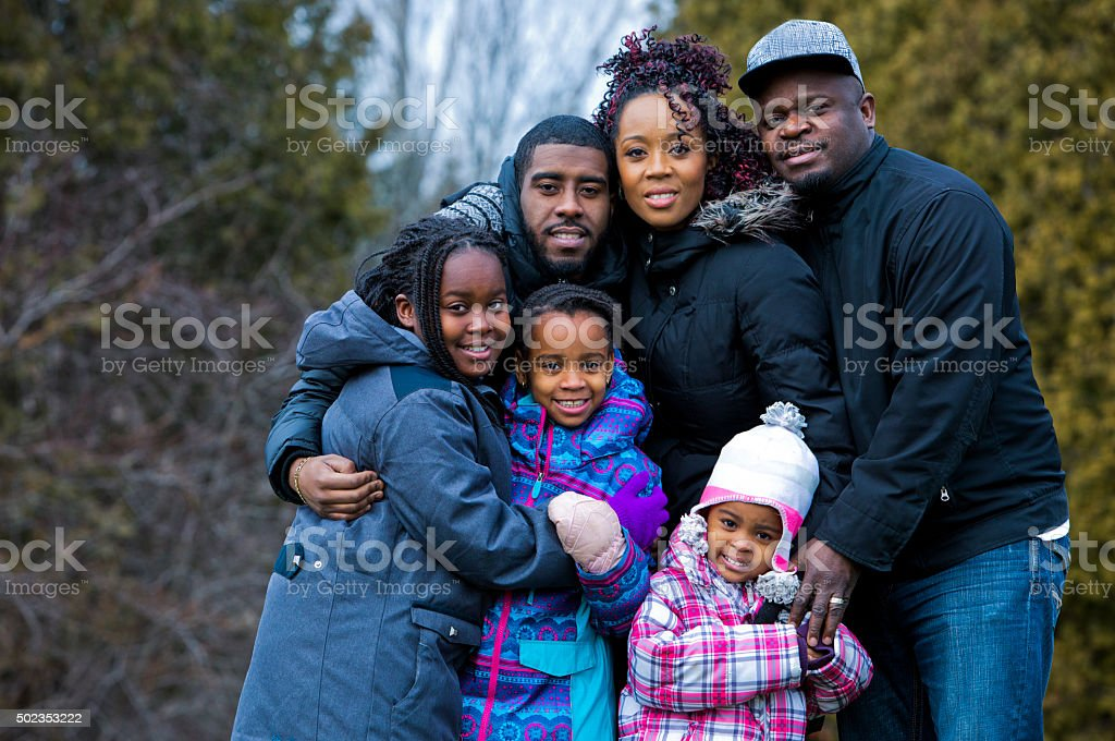 winter casual family stock photo