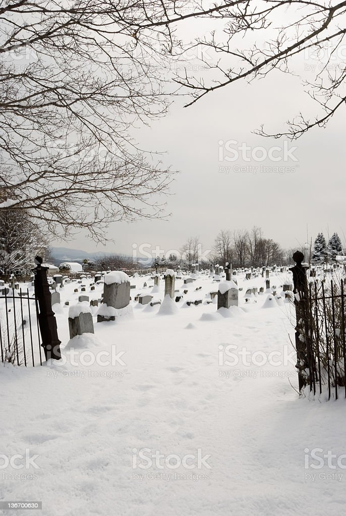 Winter Cemetery Entrance Gate royalty-free stock photo