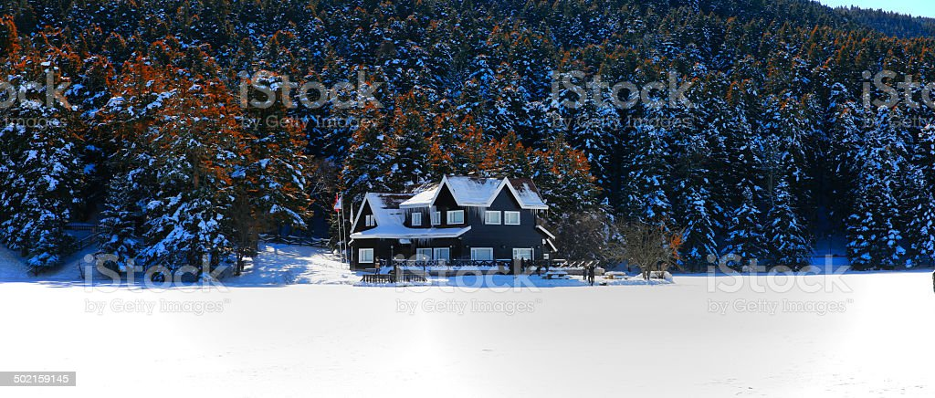 winter chalet stock photo