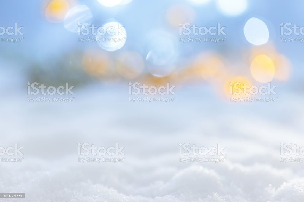 Winter christmas landscape and defocused lights stock photo