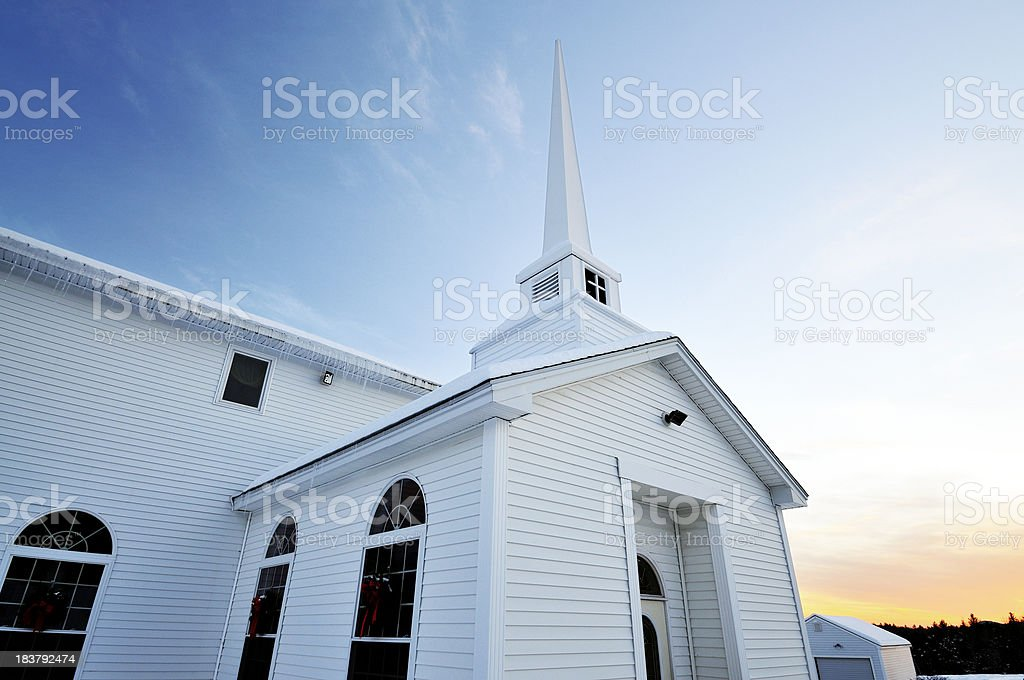 Winter Church Perspective stock photo