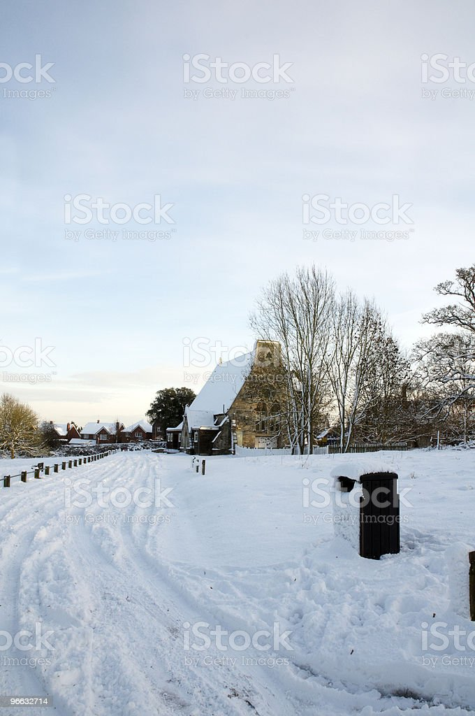 Winter church royalty-free stock photo