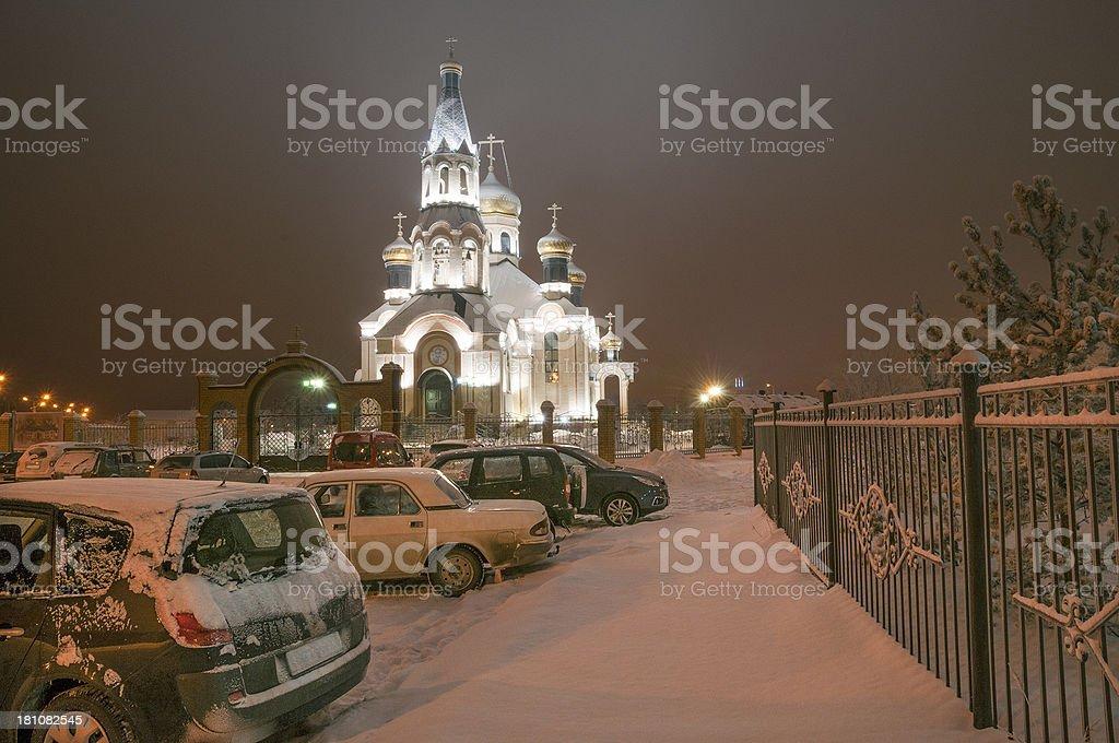 Winter, Church, West Siberia. royalty-free stock photo