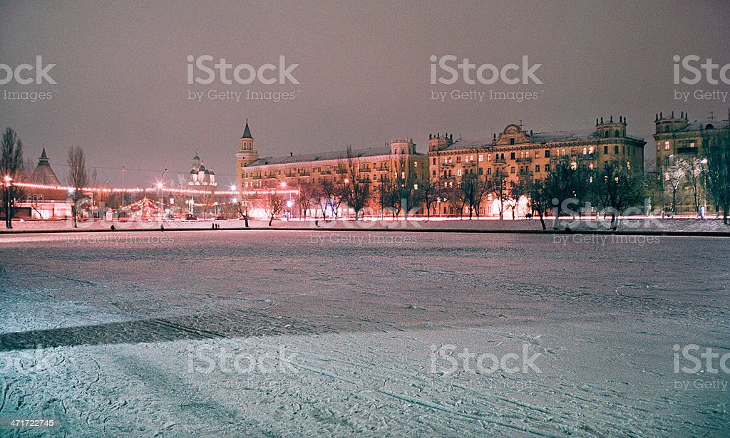 Winter. City in the evening. stock photo