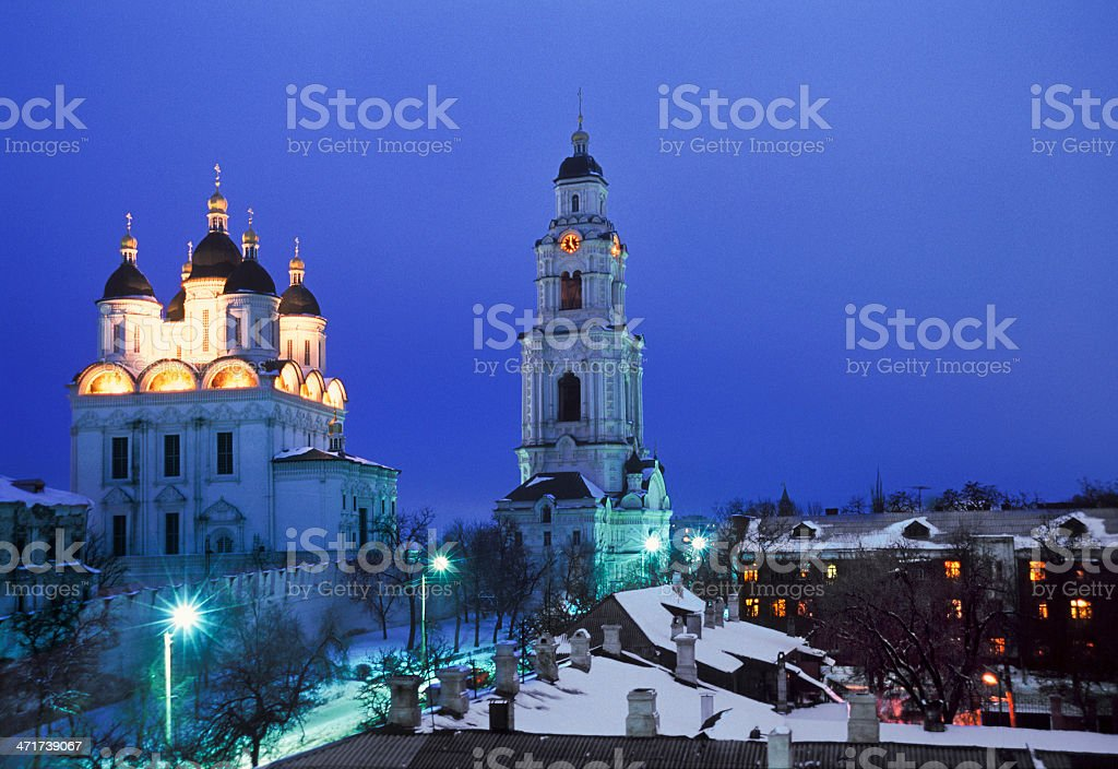 Winter. City in the evening. royalty-free stock photo