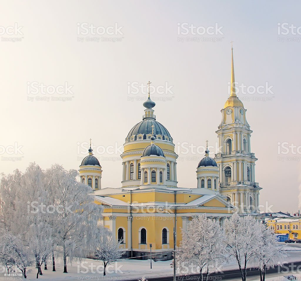 Winter, city of Rybinsk, Transfiguration Cathedral. stock photo