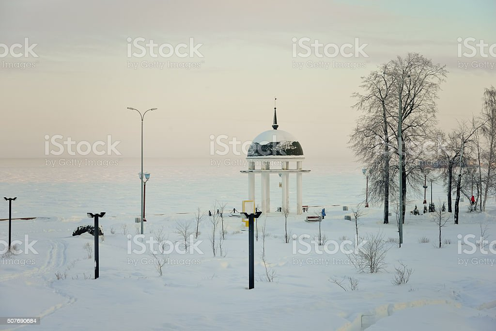 Winter city stock photo