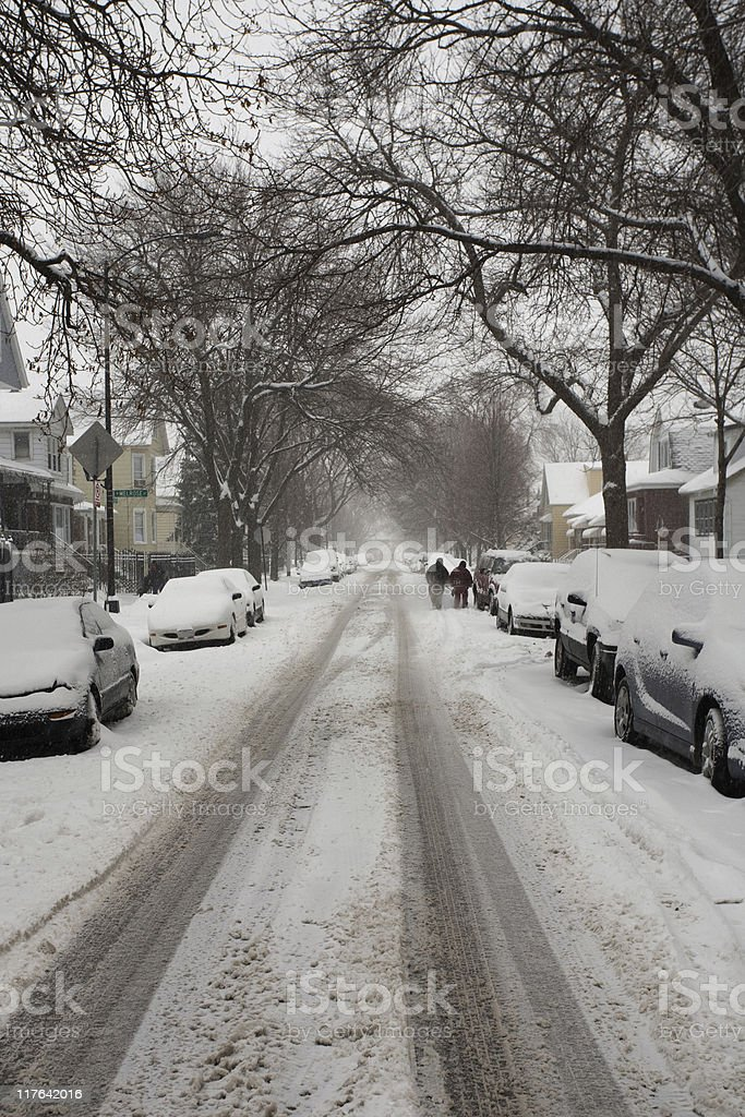 Winter city street royalty-free stock photo