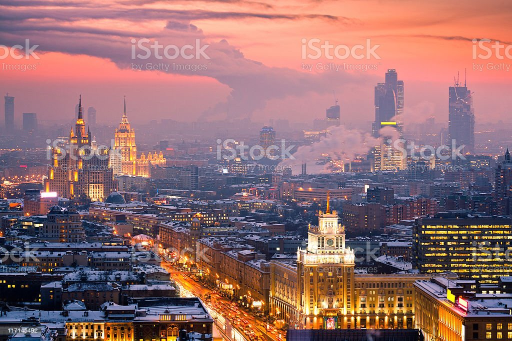 Winter cityscape at sunset. Aerial view stock photo