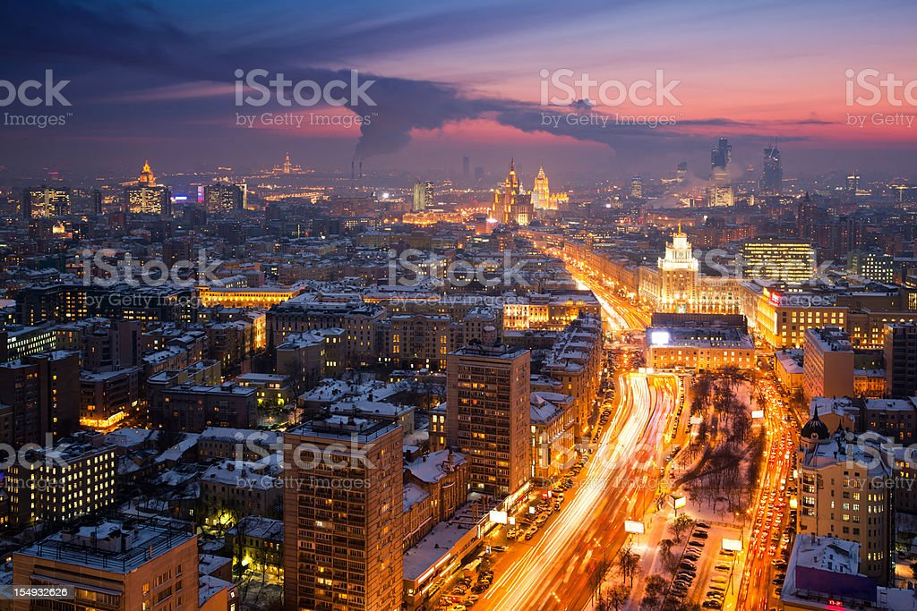 Winter cityscape at sunset. Aerial view royalty-free stock photo