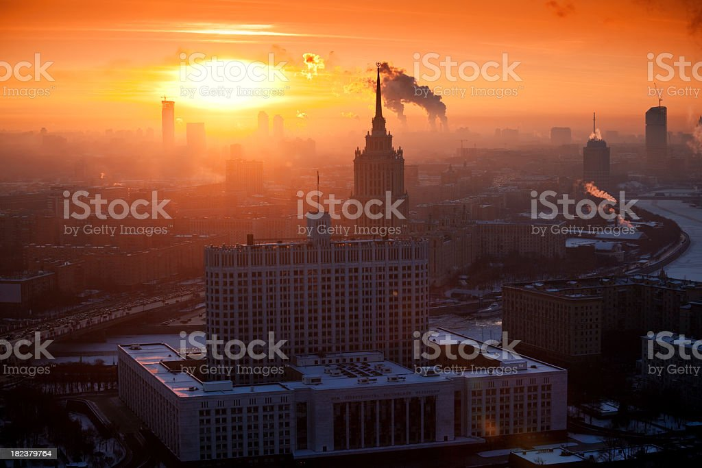 Winter cityscape at sunset royalty-free stock photo