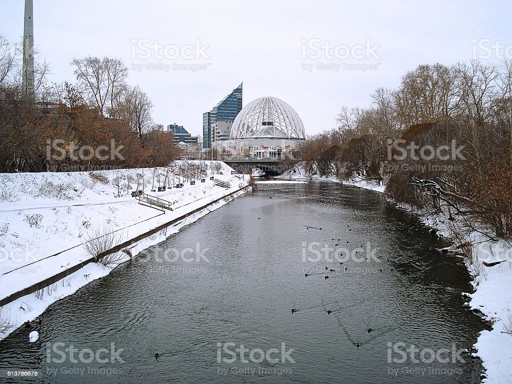 Winter cityscape. River and ducks. Yekaterinburg. December stock photo