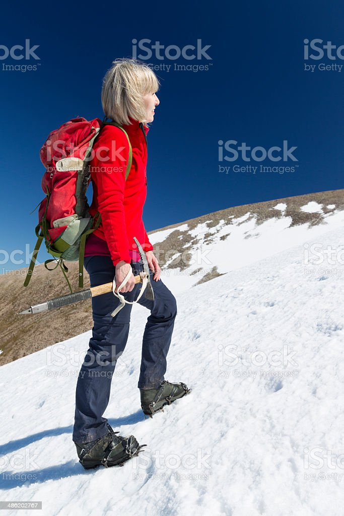 Winter climb royalty-free stock photo
