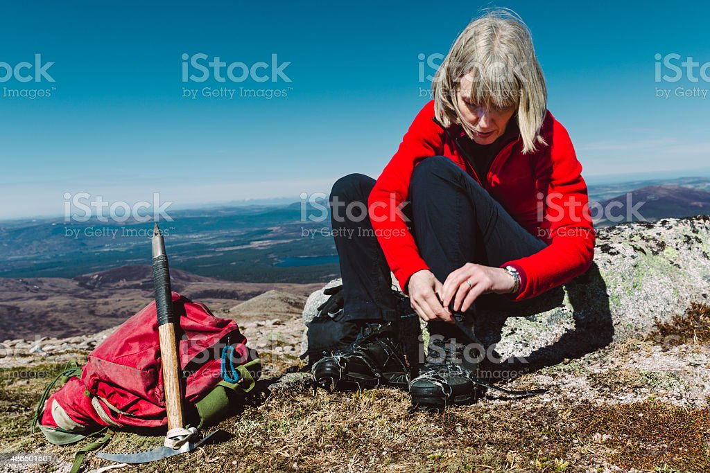 Winter climb preparations stock photo
