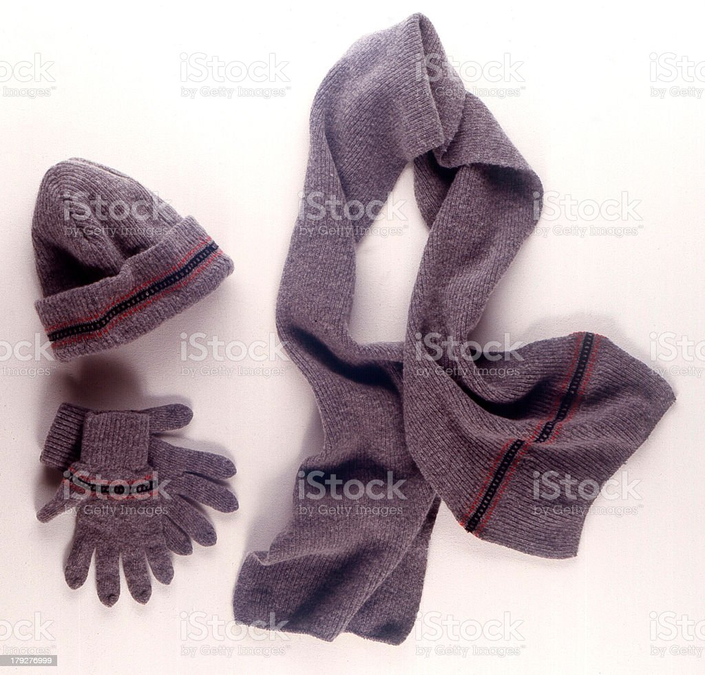 Winter clothes with hats, gloves, and scarfs royalty-free stock photo