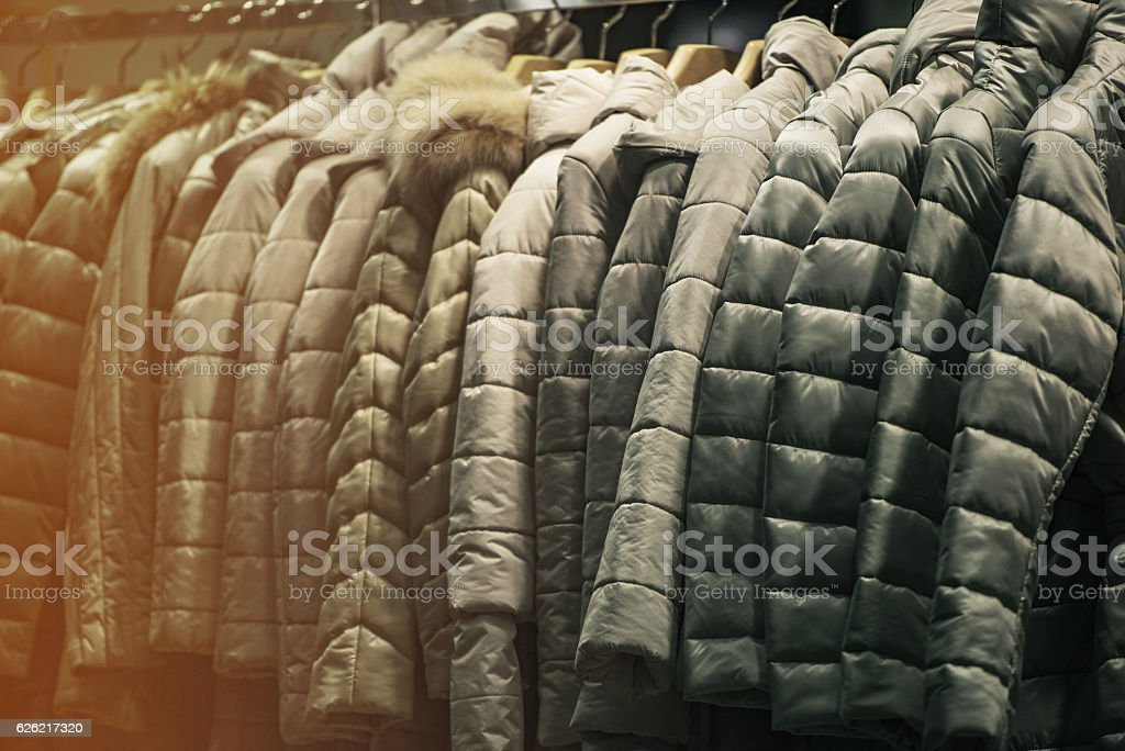 Winter clothing in a shop stock photo
