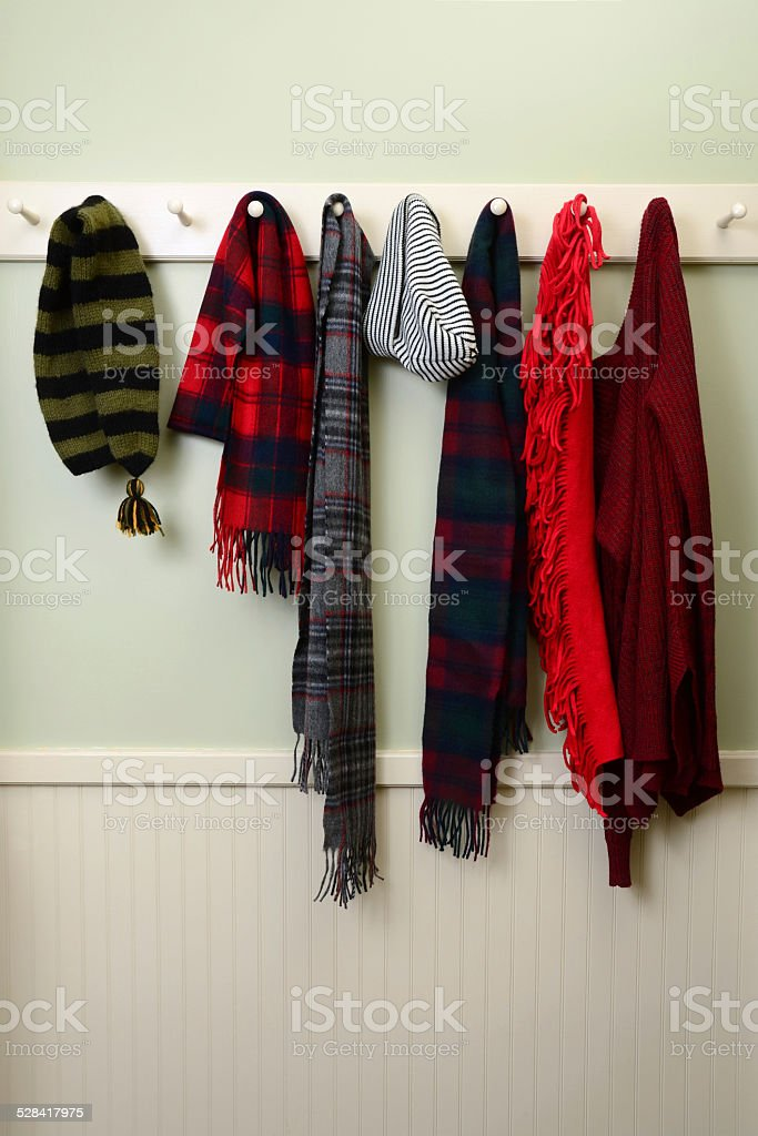 Winter Clothing in Mudroom stock photo