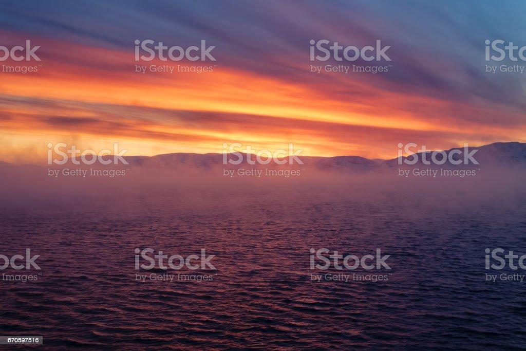 Winter coast of Barents Sea. Kola Peninsula, Russia stock photo