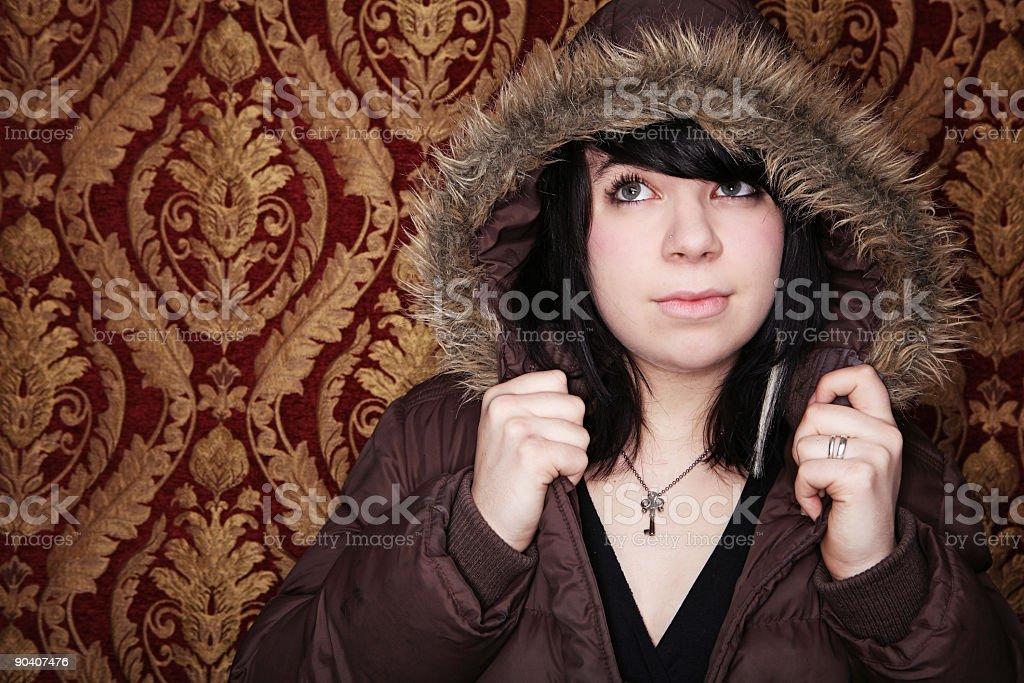 Winter Coat Girl Portrait royalty-free stock photo
