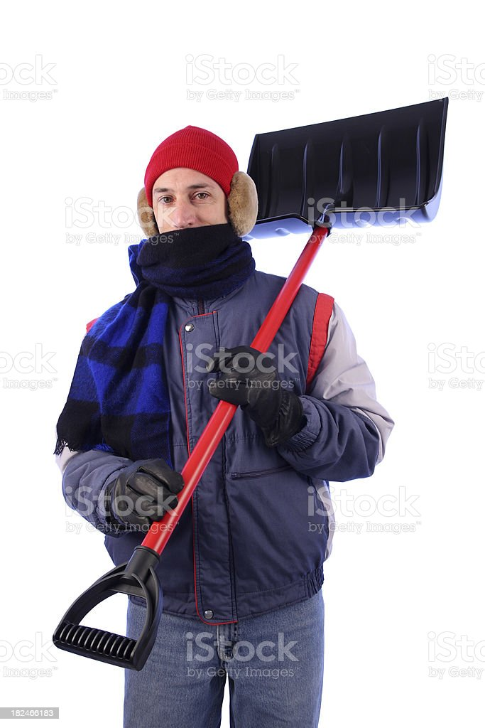 Winter Coat Man with Knit Hat: Shovel on Shoulder royalty-free stock photo