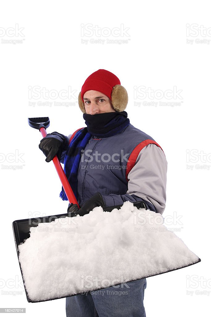 Winter Coat Man with Knit Hat: Shoveling Snow Vertical royalty-free stock photo